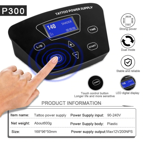 P300 THUNDERLORD Tattoo Power Supply, Professional Tattoo Power Supplies Touch Screen Intelligent Digital LCD Dual Tattoo Machine Power Supply Set