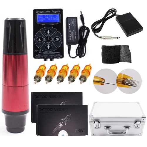 ADShi tattoo kit ctg007 Pen Rotary Tattoo Machine with custom tattoo Power Supply 20Pcs Cartridges Needles Foot Pedal with Big Case