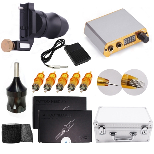 ADShi tattoo kit ctg011 Rotary Tattoo Machine with custom tattoo Power Supply 20Pcs Cartridges Needles Foot Pedal with Big Case